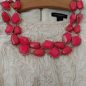 Coral statement faux chunky gem stone necklace